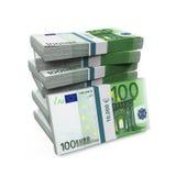 Stapels van 100 Euro bankbiljetten Stock Afbeeldingen