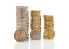 Stapels van Euro geldmuntstukken Royalty-vrije Stock Fotografie