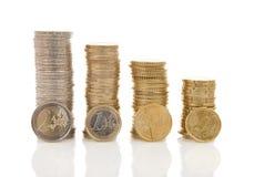 Stapels van Euro geldmuntstukken Stock Foto's