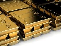 Stapels van goldbars Stock Foto's