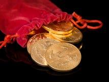 Inzameling van één ons gouden muntstukken Royalty-vrije Stock Foto
