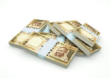 Stapels van het geld van India op witte achtergrond wordt geïsoleerd die Stock Afbeelding