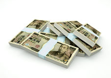 Stapels van het geld van Japan op witte achtergrond wordt geïsoleerd die Stock Foto's