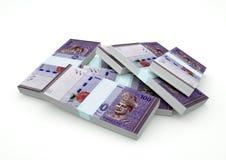 Stapels van het geld van Maleisië op witte achtergrond wordt geïsoleerd die Royalty-vrije Stock Foto's