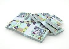 Stapels van het Verenigde Arabische die geld van Emiraten op witte achtergrond wordt geïsoleerd Stock Foto