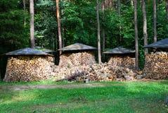 Stapels van hout Stock Afbeeldingen