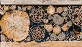 Stapels van houten die boomstammen omhoog in verschillende grootte worden gesneden stock foto's