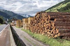 Stapels van timmerhout in een zaagmolen Stock Afbeelding