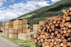 Stapels van timmerhout in een zaagmolen Stock Afbeeldingen