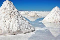 Stapels van zout in Salar de Uyuni Stock Fotografie