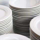 Stapels witte platen Stock Foto