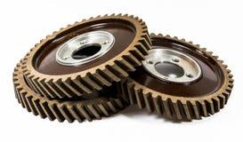 Staplade antika automatiska kugghjul för fiberkamaxeltajming Arkivbild
