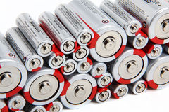staplade batterier Arkivbild