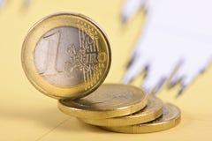Staplade euromynt på diagram Royaltyfria Foton