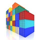 Staplade färgrika lastbehållare Industriellt och trans. Arkivfoton