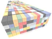 Staplade färgrika lastbehållare Industriellt och trans. Arkivbilder