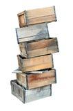 Staplade gamla träspjällådor Arkivfoto