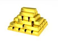 Staplade guld- stänger för guld- pyramid Royaltyfria Foton