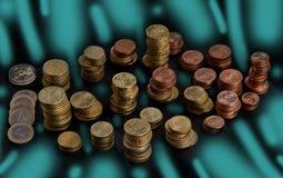 Staplade högar av mynt Royaltyfri Bild