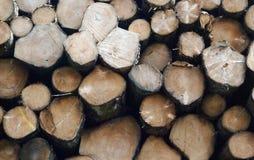 Staplade journaler av trä royaltyfri fotografi