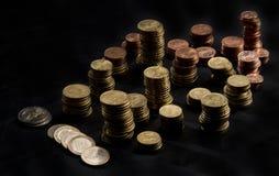 staplade mynt Arkivfoton