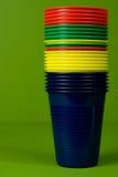 Staplade plastic koppar Arkivbild