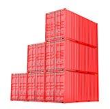 Staplade röda lastbehållare över vit Arkivbilder