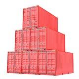 Staplade röda lastbehållare över vit Fotografering för Bildbyråer