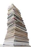 Staplade tidskrifter och strimlat papper Royaltyfri Fotografi