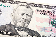 Staplat skott av en U S närbild för räkning för dollar femtio 50 av lånet Arkivfoton