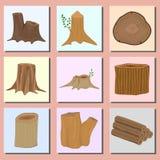 Staplat trä sörjer timmerbanret för uppsättning för vektor för material för skäll för träd för bråte för stubbe för konstruktions Arkivfoto