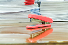Staple and business documents stack. On table Stock Photos