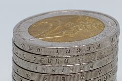 Staple of 2 Euro coins royalty free stock photos
