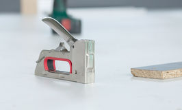 Staple gun for wood Stainless Steel Royalty Free Stock Image