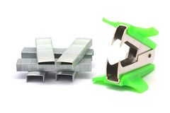 Staple remover and staples Stock Photo