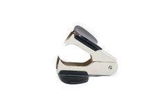 Staple removers. Profile metal staple removers on white background Stock Photo