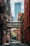 The Staple Street Skybridge, in Tribeca, Manhattan, New York City.  royalty free stock image