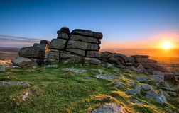 Staple Tor on Dartmoor. Sunset over Staple Tor near Merrivale on dartmoor National Park in Devon Stock Photography