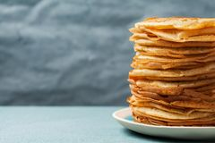 Staple of yeast pancakes, traditional for Russian pancake week royalty free stock photos