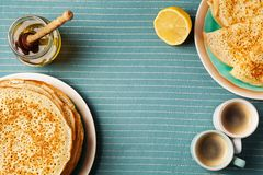 Staple of yeast pancakes, traditional for Russian pancake week stock image