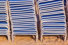 Stapled beach chairs Royalty Free Stock Photography
