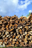 Stapled fire wood Royalty Free Stock Photos