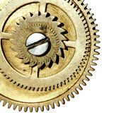Stapled gears on white background with space for your text Stock Photo