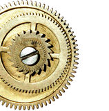 Stapled gears on white background with space for your text Royalty Free Stock Images