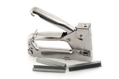 Stapler. For repair of furniture on a white background stock images