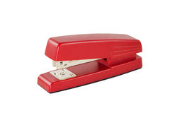 Stapler. A red stapler isolated on white Stock Photos