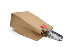 Stapler. This is a Stapler on brown bag Royalty Free Stock Image
