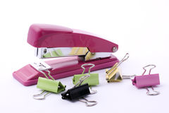 STAPLER AND   CLIPS Royalty Free Stock Photography