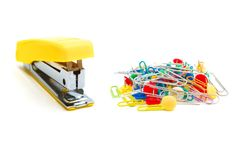 Stapler And Paperclips Stock Images
