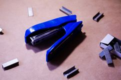 Stapler. Stapler blue. Stapler and staples. Stapler is on the table. Office. Office stapler. Stapler. Stapler blue. Stapler and staples. Stapler is on the table royalty free stock photos